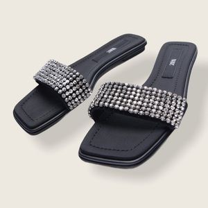 Zara Flat Sandals with Crystals